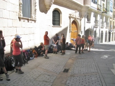 The LIne for the Albergue