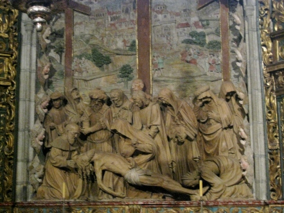 Terracotta Sculpture by Miguel Perrin de Sevilla, depicting the death of Christ with the Virgin Mary, Apostles, Disciples, and Holy Women