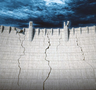 Cracking dam wall